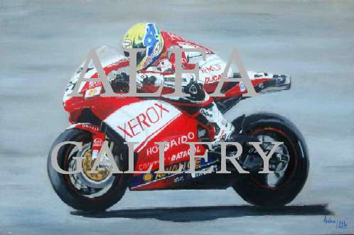 Troy Bayliss at Silverstone 2006 - Oil painting